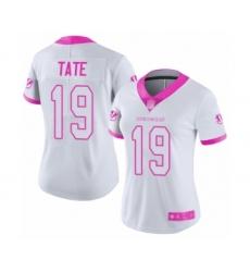 Women's Cincinnati Bengals #19 Auden Tate Limited White Pink Rush Fashion Football Jersey