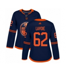 Women's Edmonton Oilers #62 Raphael Lavoie Authentic Navy Blue Alternate Hockey Jersey