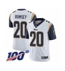 Men's Los Angeles Rams #20 Jalen Ramsey White Vapor Untouchable Limited Player 100th Season Football Jersey