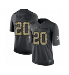 Youth Los Angeles Rams #20 Jalen Ramsey Limited Black 2016 Salute to Service Football Jersey