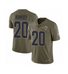 Youth Los Angeles Rams #20 Jalen Ramsey Limited Olive 2017 Salute to Service Football Jersey