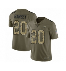 Youth Los Angeles Rams #20 Jalen Ramsey Limited Olive Camo 2017 Salute to Service Football Jersey