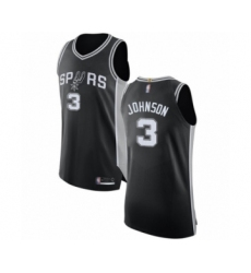 Men's San Antonio Spurs #3 Keldon Johnson Authentic Black Basketball Jersey - Icon Edition