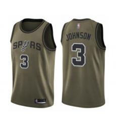 Men's San Antonio Spurs #3 Keldon Johnson Swingman Green Salute to Service Basketball Jersey