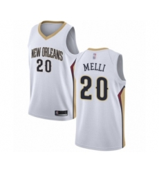 Men's New Orleans Pelicans #20 Nicolo Melli Authentic White Basketball Jersey - Association Edition