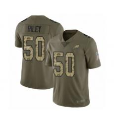 Men's Philadelphia Eagles #50 Duke Riley Limited Olive Camo 2017 Salute to Service Football Jersey