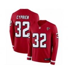 Men's Atlanta Falcons #32 Johnathan Cyprien Limited Red Therma Long Sleeve Football Jersey
