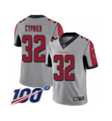 Men's Atlanta Falcons #32 Johnathan Cyprien Limited Silver Inverted Legend 100th Season Football Jersey