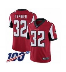 Men's Atlanta Falcons #32 Johnathan Cyprien Red Team Color Vapor Untouchable Limited Player 100th Season Football Jersey