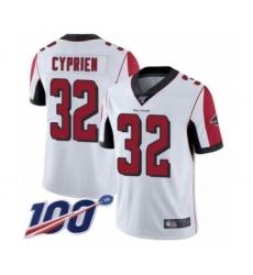 Men's Atlanta Falcons #32 Johnathan Cyprien White Vapor Untouchable Limited Player 100th Season Football Jersey