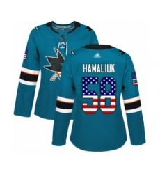 Women's San Jose Sharks #58 Dillon Hamaliuk Authentic Teal Green USA Flag Fashion Hockey Jersey