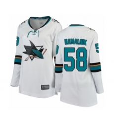 Women's San Jose Sharks #58 Dillon Hamaliuk Fanatics Branded White Away Breakaway Hockey Jersey