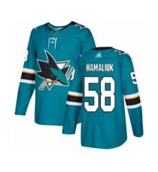 Youth San Jose Sharks #58 Dillon Hamaliuk Authentic Teal Green Home Hockey Jersey