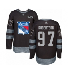 Men's New York Rangers #97 Matthew Robertson Authentic Black 1917-2017 100th Anniversary Hockey Jersey