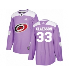 Youth Carolina Hurricanes #33 Fredrik Claesson Authentic Purple Fights Cancer Practice Hockey Jersey