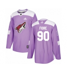Men's Arizona Coyotes #90 Giovanni Fiore Authentic Purple Fights Cancer Practice Hockey Jersey