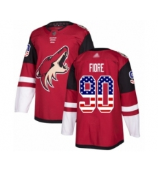 Men's Arizona Coyotes #90 Giovanni Fiore Authentic Red USA Flag Fashion Hockey Jersey