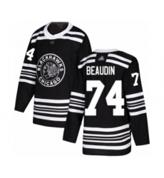 Men's Chicago Blackhawks #74 Nicolas Beaudin Authentic Black Alternate Hockey Jersey