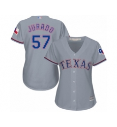 Women's Texas Rangers #57 Ariel Jurado Authentic Grey Road Cool Base Baseball Player Jersey