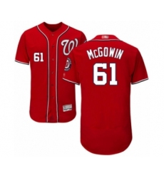 Men's Washington Nationals #61 Kyle McGowin Red Alternate Flex Base Authentic Collection Baseball Player Jersey