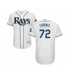 Men's Tampa Bay Rays #72 Yonny Chirinos Home White Home Flex Base Authentic Collection Baseball Player Jersey