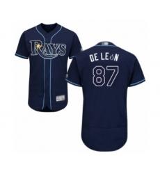 Men's Tampa Bay Rays #87 Jose De Leon Navy Blue Alternate Flex Base Authentic Collection Baseball Player Jersey