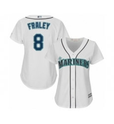 Women's Seattle Mariners #8 Jake Fraley Authentic White Home Cool Base Baseball Player Jersey