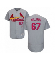 Men's St. Louis Cardinals #67 Justin Williams Grey Road Flex Base Authentic Collection Baseball Player Jersey