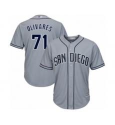 Men's San Diego Padres #71 Edward Olivares Authentic Grey Road Cool Base Baseball Player Jersey