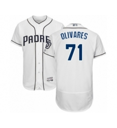 Men's San Diego Padres #71 Edward Olivares White Home Flex Base Authentic Collection Baseball Player Jersey