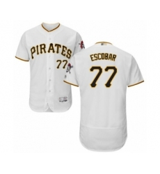 Men's Pittsburgh Pirates #77 Luis Escobar White Home Flex Base Authentic Collection Baseball Player Jersey