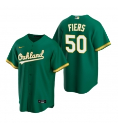 Men's Nike Oakland Athletics #50 Mike Fiers Green Alternate Stitched Baseball Jersey