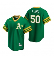Men's Nike Oakland Athletics #50 Mike Fiers Kelly Green Cooperstown Collection Road Stitched Baseball Jersey