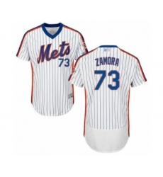 Men's New York Mets #73 Daniel Zamora White Alternate Flex Base Authentic Collection Baseball Player Jersey