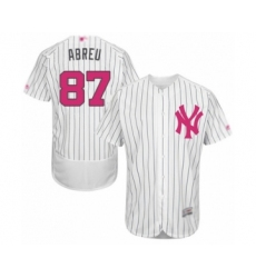 Men's New York Yankees #87 Albert Abreu Authentic White 2016 Mother's Day Fashion Flex Base Baseball Player Jersey