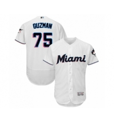 Men's Miami Marlins #75 Jorge Guzman White Home Flex Base Authentic Collection Baseball Player Jersey