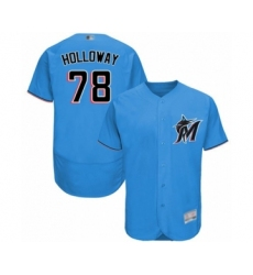 Men's Miami Marlins #78 Jordan Holloway Blue Alternate Flex Base Authentic Collection Baseball Player Jersey