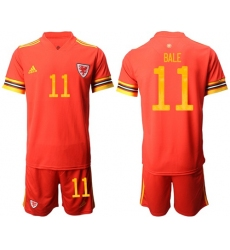 Wales #11 Bale Red Home Soccer Country Jersey