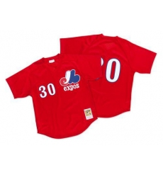 Mitchell And Ness 1989 Montreal Expos #30 Tim Raines Red Throwback Stitched MLB Jersey