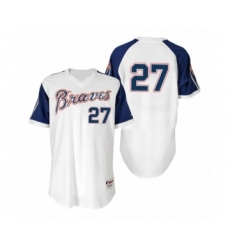 Men's Fred McGriff #27 Braves White 1974 Turn Back the Clock Authentic Jersey