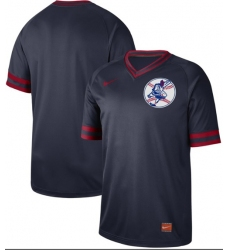 Men's Nike Cleveland Indians Blank Navy Authentic Cooperstown Collection Baseball Jersey