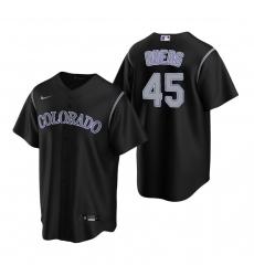 Men's Nike Colorado Rockies #45 Scott Oberg Black Alternate Stitched Baseball Jersey