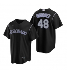 Men's Nike Colorado Rockies #48 German Marquez Black Alternate Stitched Baseball Jersey