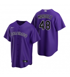 Men's Nike Colorado Rockies #48 German Marquez Purple Alternate Stitched Baseball Jersey