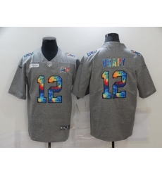 Men's Tampa Bay Buccaneers #12 Tom Brady Gray Rainbow Version Nike Limited Jersey