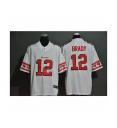 Men's Tampa Bay Buccaneers #12 Tom Brady White Team Logo Fashion Limited Player Football Jersey