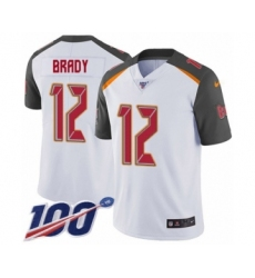 Men's Tampa Bay Buccaneers #12 Tom Brady White Vapor Untouchable Limited Player 100th Season Football Jersey