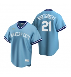 Men's Nike Kansas City Royals #21 Mike Montgomery Light Blue Cooperstown Collection Road Stitched Baseball Jersey