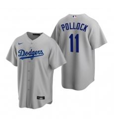 Men's Nike Los Angeles Dodgers #11 A.J. Pollock Gray Alternate Stitched Baseball Jersey