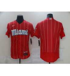 Men's Nike Miami Marlins Blank Red 2021 City Connect Replica Jersey